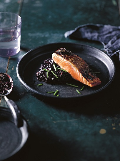 black rice salmon rissotto